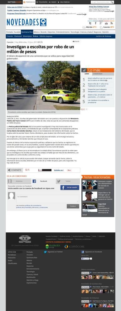Acusan a escoltas por robo de un millón de pesos en Cancún_20130612-154048