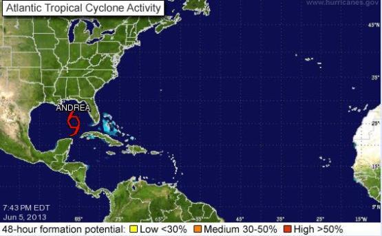 """Se forma en el Golfo de México la tormenta tropical """"Andrea"""""""