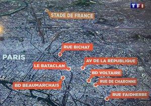 Los lugares de los atentados en París.