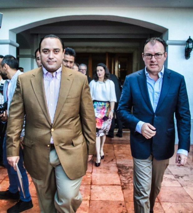Roberto Borge y Luis Videgaray en Cancún.